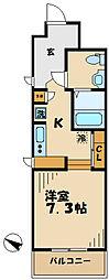京王相模原線 京王多摩センター駅 徒歩8分の賃貸マンション 3階1Kの間取り