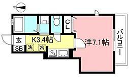 JR中央線 国分寺駅 徒歩6分の賃貸アパート 1階1Kの間取り