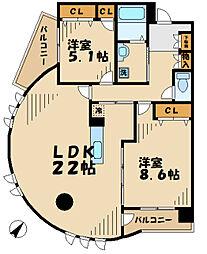 神奈川県川崎市麻生区南黒川の賃貸マンションの間取り
