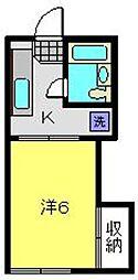 神奈川県横浜市神奈川区白幡仲町の賃貸アパートの間取り