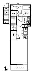ドルチェ雑司ヶ谷 2階ワンルームの間取り