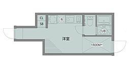 四谷テラス 1階ワンルームの間取り