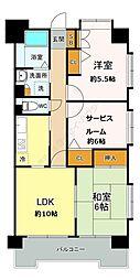 グランドゥール新家 3階2SLDKの間取り