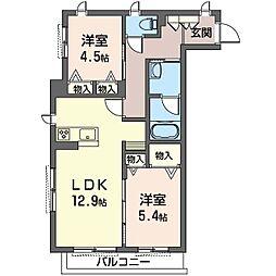 旭区中白根2丁目シャーメゾン (仮) 1階2LDKの間取り