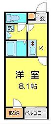JR八高線 毛呂駅 徒歩6分の賃貸アパート 1階1Kの間取り