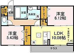 仮称D-room保木間1丁目 1階2LDKの間取り
