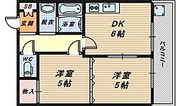大阪府堺市西区浜寺公園町1丁の賃貸マンションの間取り