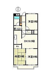 神奈川県横浜市青葉区新石川4丁目の賃貸マンションの間取り