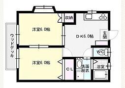 福岡県福岡市早良区重留6丁目の賃貸アパートの間取り