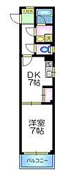 東京メトロ有楽町線 千川駅 徒歩8分の賃貸マンション 2階1DKの間取り