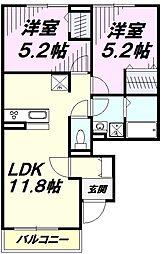 (仮)D-room鵜ノ木 1階2LDKの間取り