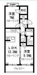 東急東横線 学芸大学駅 徒歩7分の賃貸マンション 1階2LDKの間取り