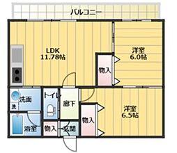 SKビル六番館 7階2LDKの間取り