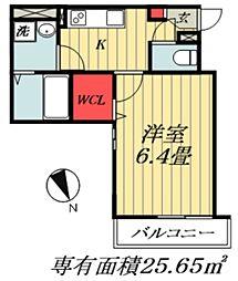東京メトロ東西線 妙典駅 徒歩12分の賃貸マンション 2階1Kの間取り