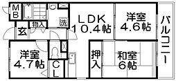 香里プラザ6[6階]の間取り