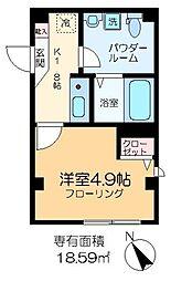 平井SKハイツ 3階1Kの間取り