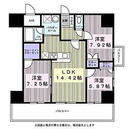 アルティザ仙台花京院 9階3LDKの間取り