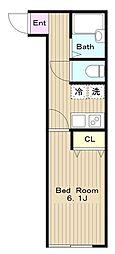 京王相模原線 稲城駅 徒歩7分の賃貸アパート 3階1Kの間取り