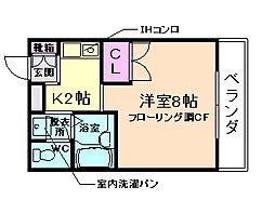 大阪府箕面市粟生間谷西5丁目の賃貸マンションの間取り