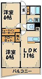 神奈川県大和市上草柳7丁目の賃貸マンションの間取り