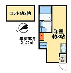 つくばエクスプレス 八潮駅 徒歩9分の賃貸アパート 1階ワンルームの間取り