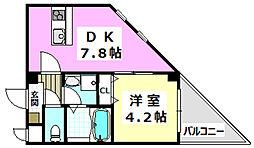 JR東海道・山陽本線 茨木駅 徒歩14分の賃貸マンション 1階1DKの間取り