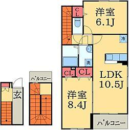 千葉県八千代市上高野の賃貸アパートの間取り