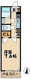 京王相模原線 南大沢駅 徒歩13分の賃貸マンション 2階1Kの間取り