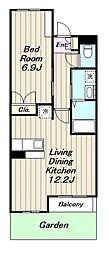 JR相模線 寒川駅 徒歩12分の賃貸マンション 3階1LDKの間取り