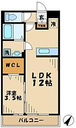 小田急多摩線 はるひ野駅 徒歩6分の賃貸アパート 2階1LDKの間取り