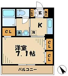 京王相模原線 京王堀之内駅 徒歩16分の賃貸アパート 3階1Kの間取り