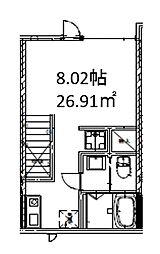 西武新宿線 上井草駅 徒歩13分の賃貸アパート 2階1Kの間取り