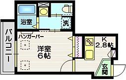 JR京浜東北・根岸線 蒲田駅 徒歩10分の賃貸マンション 2階1Kの間取り