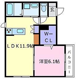 大阪府堺市東区日置荘西町2丁の賃貸マンションの間取り