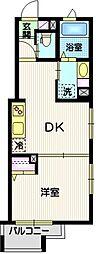 ソレイユ目黒II 2階1DKの間取り