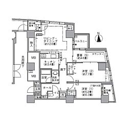 JR山手線 浜松町駅 徒歩3分の賃貸マンション 24階2SLDKの間取り