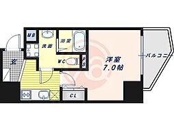 阪堺電気軌道上町線 松虫駅 徒歩3分の賃貸マンション 11階1Kの間取り