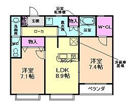 兵庫県川西市平野2丁目の賃貸マンションの間取り