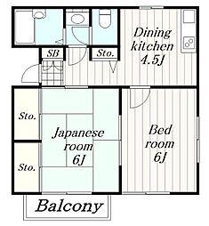 神奈川県大和市福田1丁目の賃貸アパートの間取り