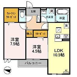 埼玉新都市交通 鉄道博物館(大成)駅 徒歩15分の賃貸アパート 1階2LDKの間取り