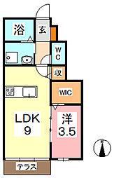 CoCo平田 1階1LDKの間取り