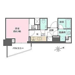 東京メトロ有楽町線 江戸川橋駅 徒歩6分の賃貸マンション 3階1Kの間取り