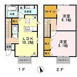愛知県豊橋市牛川町字西側の賃貸アパートの間取り