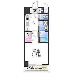 JR阪和線 美章園駅 徒歩2分の賃貸マンション 4階1Kの間取り
