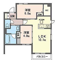 プリマベ―ラ根岸 1階2LDKの間取り