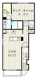小田急小田原線 海老名駅 バス11分 サンパルク650下車 徒歩4分の賃貸アパート 1階1LDKの間取り