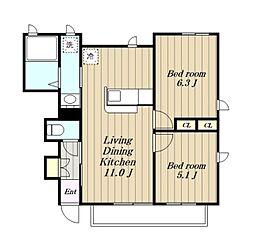 アメニティー宮下本町2丁目アパート[B102号室]の間取り