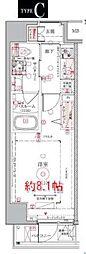 東京メトロ半蔵門線 押上駅 徒歩10分の賃貸マンション 7階1Kの間取り