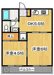 江北サニーハイツ[3階]の間取り