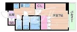 おおさか東線 JR淡路駅 徒歩6分の賃貸マンション 11階1Kの間取り